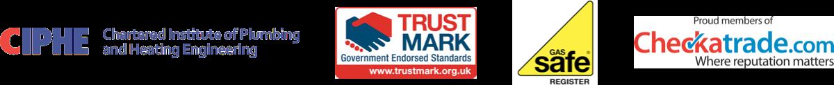 Accreditations - CIPHE, Gas Safe, Checkatrade, Trustmark